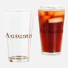 Autumn Bright Flowers Drinking Glass