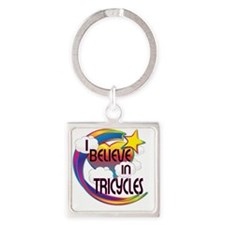 I Believe In Tricycles Cute Believ Square Keychain