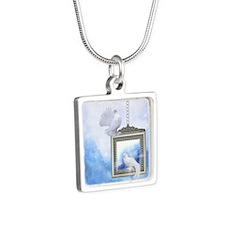 Peace Dove 2 Silver Square Necklace