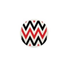 Black, white and Red chevrons  Queen D Mini Button