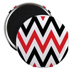 Black, white and Red chevrons  Queen Duvet Magnet
