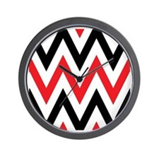 Black, white and Red chevrons  Queen Du Wall Clock