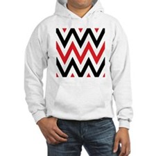 Black, white and Red chevrons  Q Hoodie