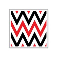 "Black, white and Red chevro Square Sticker 3"" x 3"""