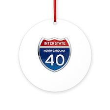 NC Interstate 40 Round Ornament