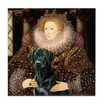 The Queen's Black Lab Tile Coaster