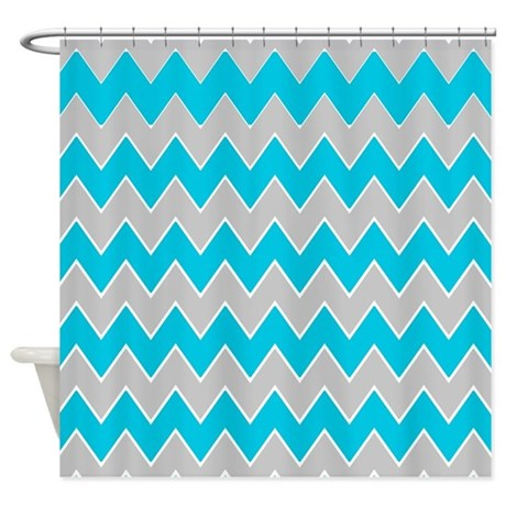 Gray And Turquoise Zigzags Shower Curtain By