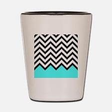 Black, white and turquoise chevrons 2 Q Shot Glass