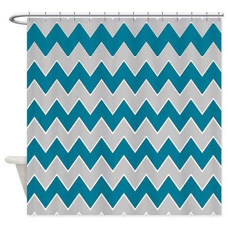 Gray And Teal Zigzags Shower Curtain By ShowerCurtainsWorld