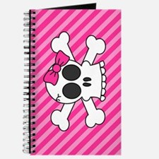 Cute Skull and Crossbones with Pink Bow Journal