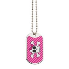 Cute Skull and Crossbones with Pink Bow Dog Tags
