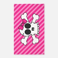 Cute Skull and Crossbones with Pink 3'x5' Area Rug