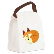 Cute Sleeping Fox Canvas Lunch Bag