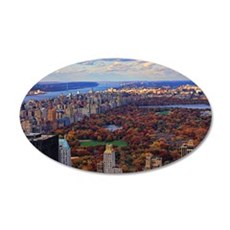 Central Park in Autumn, A vi 35x21 Oval Wall Decal