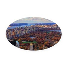Central Park in Autumn, A view fro Oval Car Magnet