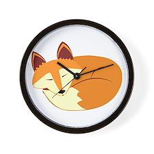 Cute Sleeping Fox Wall Clock