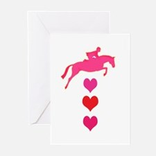 jumper horse hearts.jpg Greeting Cards
