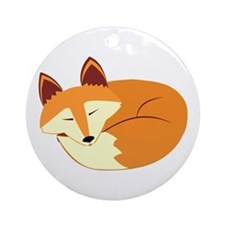 Cute Sleeping Fox Ornament (Round)