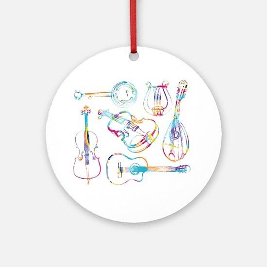 Cute Mandolin Round Ornament