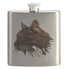 Domestic Cat Fractal Profile Flask