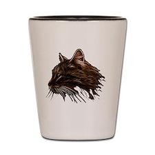 Domestic Cat Fractal Profile Shot Glass