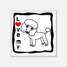 "I Love My Poodle White Coat Square Sticker 3"" x 3"""