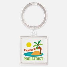 Retired Podiatrist Square Keychain