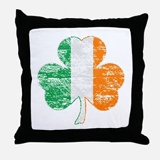 Vintage Irish Flag Shamrock Throw Pillow