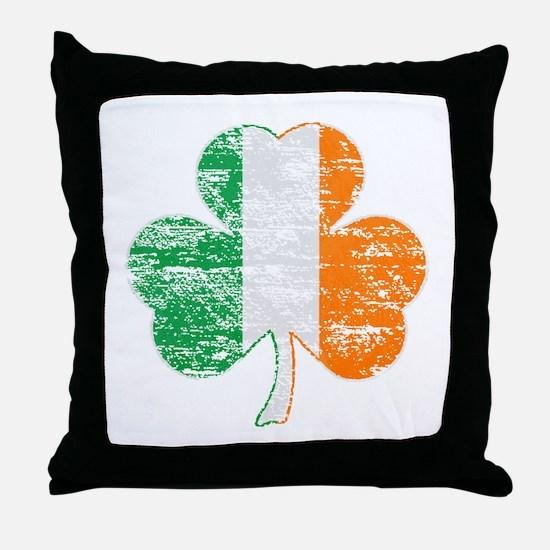 Vintage Irish Flag Shamrock Throw Pillow