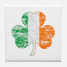 Vintage Irish Flag Shamrock Tile Coaster