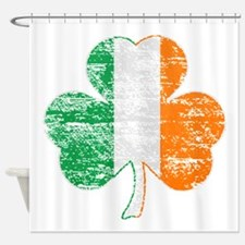 Vintage Irish Flag Shamrock Shower Curtain