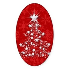 Sparkling Red Christmas Tree Decal