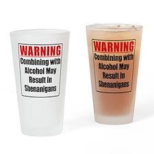warning-alcohol-shenanigans Drinking Glass