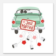 """Just Married Car Square Car Magnet 3"""" x 3"""""""