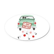 Just Married Car Oval Car Magnet