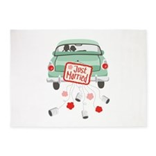 Just Married Car 5'x7'Area Rug
