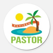 Retired Pastor Round Car Magnet