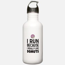 i run because I really like donuts Water Bottle