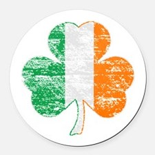 Vintage Irish Flag Shamrock Round Car Magnet