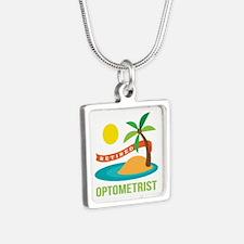 Retired Optometrist Silver Square Necklace