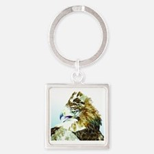 Red-tail Watercolor Square Keychain