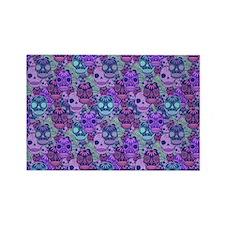 Purple Calavera Rectangle Magnet