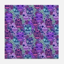 Purple Calavera Tile Coaster