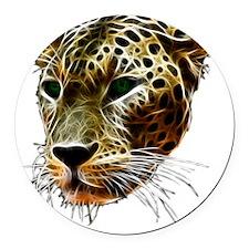 Cat Leopard Head Round Car Magnet