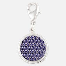Elegant Vintage Blue Silver Round Charm