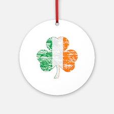 Vintage Irish Flag Shamrock Ornament (Round)