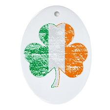 Vintage Irish Flag Shamrock Ornament (Oval)
