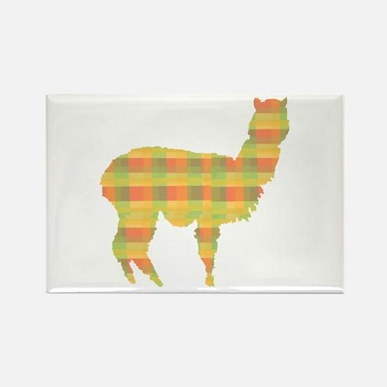Plaid Alpaca Rectangle Magnet