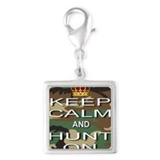 Keep Calm and Hunt On Silver Square Charm