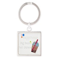 Bubble Tea, Happiness: Big Balls   Square Keychain